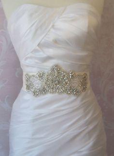 Items similar to crystal beaded applique , rhinestone headband applique, bridal sash applique on Etsy Wedding Belts, Wedding Sash, Bridal Sash, Wedding Gowns, Crystal Beads, Crystal Rhinestone, Crystals, Silver Beads, Cream Wedding