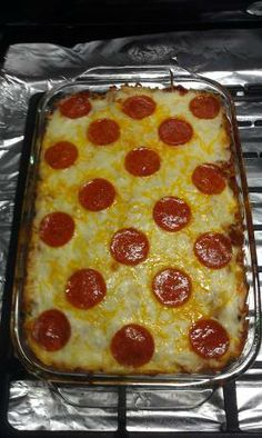 Pepperoni Pizza Casserole.  (trying to find another pizza casserole since the recipe that so many people remarked as Tried n True no longer links) {Italian, pasta, spaghetti sauce, oven}