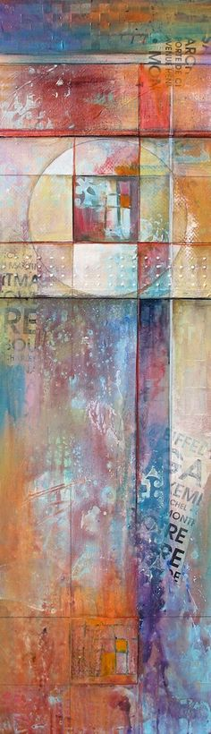 """Textures in Form""  12x40  Contemporary, abstract, original painting by Karen Hale. modern, mixed media. Many layers of texture.  $1275"