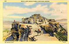 Vintage Arizona postcard of a Walpi Hopi Indian Pueblo overlooking the Painted Desert in Northern Arizona.