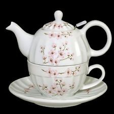 Andrea by Sadek Cherry Blossoms Tea for One Teapot w/ Strainer Cup Saucer Set
