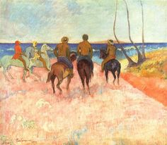 Riders on the Beach by Paul Gauguin in oil on canvas, done in Now in Stavros Niarchos Collection. Find a fine art print of this Paul Gauguin painting. Paul Gauguin, List Of Paintings, Degas Paintings, Georges Braque, Henri Matisse, Oil On Canvas, Canvas Art, Canvas Prints, Large Canvas
