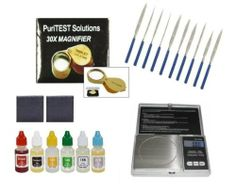 Digiweigh Dw-100as Scale + Consumer's Kit 6 Pack of Gold & Silver Testing Acids + Puritest Eye Loupe + Pro 2x2 Scratch Test Stone + 10pcs File Set by PuriTEST Acid, Stones & Eye loupe + Digiweigh Scale + Generic Files. $43.99. This Consumer's Pack contains all you need to accurately and reliably measure and test all your precious metals from Gold to Platinum. The 100AS scale fits neatly into any sized pocket, while accurately measuring weight in Grams (g), Ounces (oz), Ca...