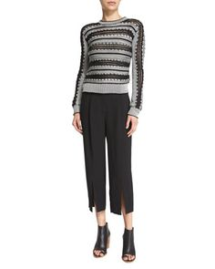 """Maiyet woven sweater with crochet stripes. Jewel neckline. Ribbed trim at neckline, cuffs, and hem. Fitted silhouette. Pullover style. Silk. Model's measurements: Height 5'10""""/177cm, bust 34""""/86cm, waist 24""""/61cm, hips 35""""/89cm, dress size US 2."""