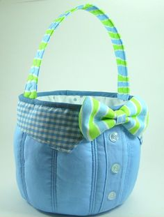 Bow Tie Easter Basket PDF Sewing Pattern Tutorial  by aSundayGirl