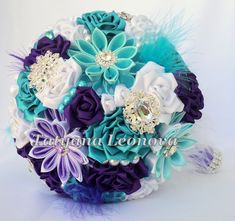 Brooch bouquet 7 inches. Original handmade Wedding Bouquet in purple, turquoise, white. Flowers made of satin ribbon, decorated with jewelry. Bouquet decorated with brooches. The bouquet consists of more than 30 flowers. I can create a bouquet of any style, color or dimensions. Pictures will