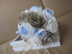 Bride Wedding Bouquet Rustic paper flowers Book by moniaflowers
