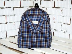 Hipster Backpack  Plaid Black Dark Blue Backpack by WhatTheFactory