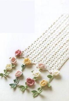 Luty Artes Crochet: Cachecol de flores rosetas …