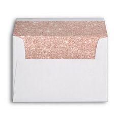 Rose gold ombre black marble modern color block envelope