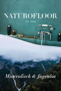 Von der Natur inspiriert: Naturofloor, der fugenlose Belag für Böden und Wände. Finde jetzt einen Fachhandwerker in deiner Nähe! Bathroom, Kitchen, Movie Posters, Decor, Guest Toilet, Floor Covering, Nature, Washroom, Cooking