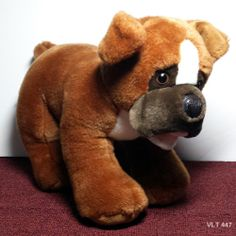 """Build a Bear 12"""" Boxer Plush Stuffed Puppy Dog with Magnet in Mouth Retired Toy"""