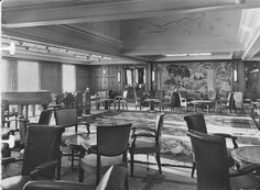 The First Class Fumoir (Smoking Room) of the steamship Antilles of Compagnie Générale Transatlantique, more commonly known as The French Line. 1953. Note the deep well of the plafond (ceiling), with frieze of sculpted plaster. Image courtesy the private collection of John Cunard-Shutter.