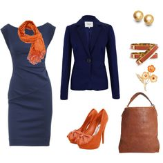 commodore blue, created by bellaviephotography on Polyvore~ Love the Dress, I would pair it with light sweater or wrap though instead of the heavy jacket pictured. Not sure about the Orange accessories, probably change the color of those.