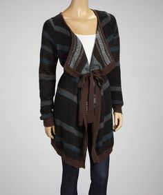 Take a look at this Olive & Oak Black Blanket Weave Open Cardigan on zulily today!