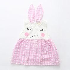 Sweet Rabbit Design Plaid Sleeveless Dress for Baby and Toddler Girl Baby Shower Cupcakes Neutral, Summer Dresses Online, Baby Boy Suit, Korean Fashion Street Casual, Daily Dress, Matching Family Outfits, Baby Outfits Newborn, Cute Bunny, Ladies Dress Design