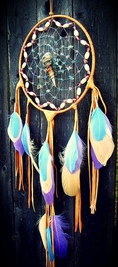 Native American  Dream Catcher -- Native Americans believed that if you put these by your beside the bad dreams would be caught in the net and good dreams would pass through.