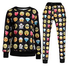 Surenow Femme Homme Combinaison Sweat-shirt Pull Leggings Pantalon Emoji 3D