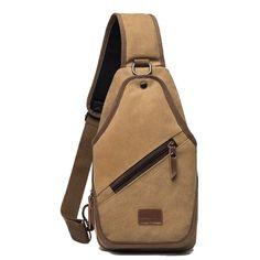 db5d5938f9c3 Durable Solid Khaki Brown Canvas Masculine Men Crossbody Chest Bag Fashion  Sewing Pattern Hip-hop