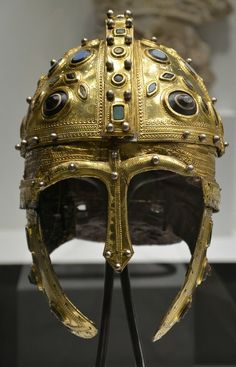 Late Roman Ridge Helmet (by Carole Raddato) -- A century CE Roman parade helmet made of iron, silver and gold, and decorated with glass gems, found in Berkasovo, Serbia. The photo was takenÉ Roman History, Art History, Ancient Rome, Ancient History, Roman Armor, Roman Helmet, Roman Clothes, Helmet Armor, Roman Jewelry