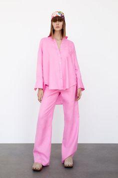 LINEN SHIRT | ZARA United States Wide Leg Linen Pants, Linen Trousers, Zara Spain, Style Me, Long Sleeve Shirts, How To Wear, Clothes, Dresses, Switzerland