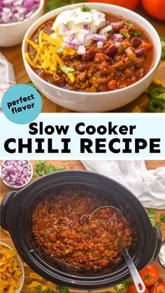 Healthy Crockpot Recipes, Chili Recipes, Soup Recipes, Dinner Recipes, Cooking Recipes, Crockpot Meals, Healthy Food, Recipies, Slow Cooker Chili