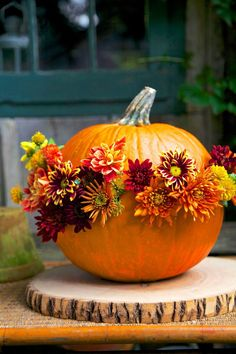 Simple flower decorated pumpkin for all of Fall season!