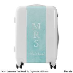 """Mrs"" Lastname Teal Wash Luggage"