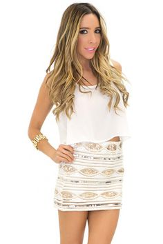 GISELE SEQUIN SKIRT - Cream