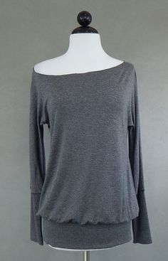 "DIAB'LESS FRANCE Charcoal Gray Off Shoulder Blouson Knit Top 36"" - 42"" Bust #Diabless #KnitTop #Casual"