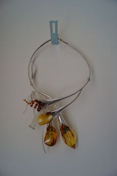 Sterling silver and amber necklace -- statement jewellery