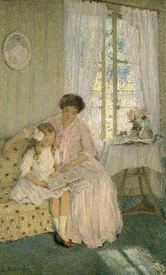 holliesgarden:        The Lesson via Emanuel Phillips Fox (1865 – 1915, Australian) «I AM A CHILD (children in art history)