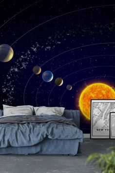 Planets and Solar System Wall Mural / Wallpaper Space Planeten und das sonnensystem Fototapete – Tapete Boys Bedroom Wallpaper, Wall Murals Bedroom, Wallpaper Space, Wallpaper Ideas, Wallpaper Murals, Teenage Room Decor, Solar System Room, Solar System Wallpaper, Outer Space Bedroom