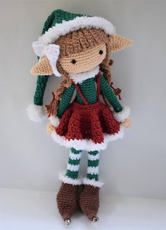 Note: This listing is for a crochet pattern only - it is not the finished doll! Bell the Elf is crocheted from the bottom of her feet to the top of her head as one piece, even the arms are joined to the body. Her boots, hat and skirt are removable. You will need to know basic to