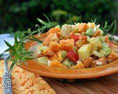 Colorful mix of sweet potatoes, potatoes and vegetables. No mayonnaise. Confetti Potato Salad © Kitchen Parade recipe for Confetti Potato Salad