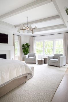WOODSIDE — Kerri Rosenthal Interiors WOODSIDE — Kerri Rosenthal Interiors Scout & Nimble scoutandnimble BEDROOMS Large master bedroom with extra large area rug + brass chandelier + two sofa chairs in the master bedroom + neutral bedroom with a fireplace Master Bedroom Design, Home Bedroom, Modern Bedroom, Bedroom Furniture, Bedroom Wall, Contemporary Bedroom, Bedroom Fireplace, Bedroom Sofa, Transitional Bedroom Decor