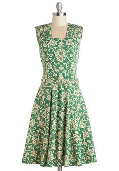 Delight Me Dress. You dont ask for much in a dress - just that its details fill you with joy, just like this green A-line from Effies Heart does! #green #modcloth