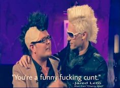"""I can't choose which Jared Leto quote I love best, but this one on the british TV talk show Alan Carr """"Chatty Man"""" from 2009 is very high up on in the """"inappropriately hilarious"""" category! But the whole interview was inappropriately hilarious! A Funny, Funny Stuff, Hilarious, Jared Leto Quotes, Chatty Man, Alan Carr, Jered Leto, Life On Mars, Shannon Leto"""