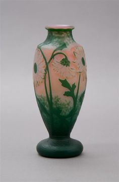 A Daum Cameo Glass Vase,  of baluster form, the mottled glass decorated with sunflowers on a martele ground, signed Daum Nancy with the cross of Lorraine.