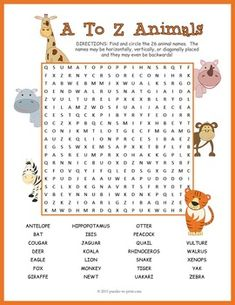 Dance word search worksheet storyhour mazes puzzles pinterest use this printable animal word search for kids to help them learn the names of 26 animals from a to z this worksheet makes a fun classroom activity that ccuart Gallery