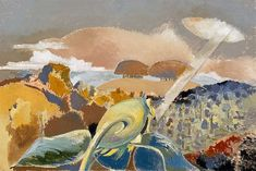 """Sunflower and Sun (1942) by Paul Nash. Inspired by the view from Hilda Harrisson's house, Sandlands on Boars Hill near Oxford. """"Quite lovely country looking over the Bagley Woods towards Wittenham Clumps in the distance and a charming neglected garden... I cannot explain this picture. It means only what it says...But the drama of the event, which implies the mystical association of the sun and the sunflower, is heightened by the two opposing ellipses..."""""""