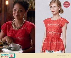 Beth's red lace top on Chasing Life.  Outfit Details: http://wornontv.net/34970/ #ChasingLife