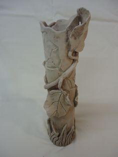 handbuilt greenware leaf vase - Michael MacDonald 2013