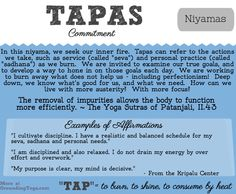 The niyamas are all principles guiding us on how to treat ourselves - and where sauca is about cleaning our bodies, tapas is about keeping our bodies healthy. Tapas means burning, and it's ...