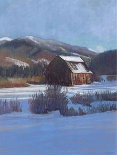 The AA Barn Canvas Giclee gives a feeling of shelter and homecoming despite the bleak hues of the landscape: ice blue, steel grey and muted goldenrod.