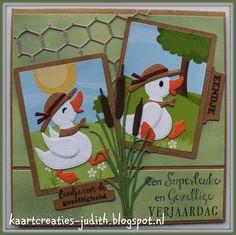 Marianne Design PK9127 Watercolor A4 AK0066 Eline's Backgrounds COL1428 Eline's duck family Col1314 tab text NL CR1401 Chickenwire PI6501 ATC Pocket Letter LR0409 Tiny's Cattails CS0985 Eendje voor jou CS0987 Felicitaties
