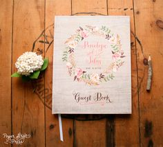 "Wedding Guest Book - Wedding Guestbook - Custom Guest Book - Personalized Guestbook - Rustic Bohemian Floral Keepsake - 8"" x 10"""