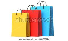 Colourful paper shopping bags, 3d illustration, 3D render, isolated on white background