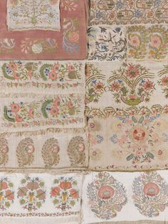 `Flowers' A Group of Ottoman embroidered and metal-thread textiles Ottoman Empire, Embroidery Patterns, Vintage Antiques, Modern Art, Stitches, Auction, Textiles, Quilts, Group