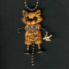 Steampunk Yellow Tabby Kitty Cat Robot Dont Judge Me Necklace Polymer Clay Jewelry. $24.00, via Etsy.